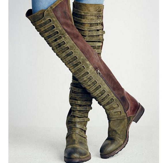Shoes - Ladies Fashion Knee High Long Motorcycle Boots