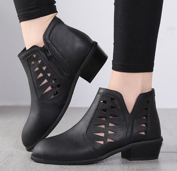 Women's Shoes - Vintage Cut Out Sandal Booties