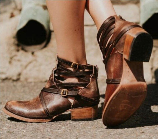 2018 Women Fashion Vintage Leather Ankle Casual Boots