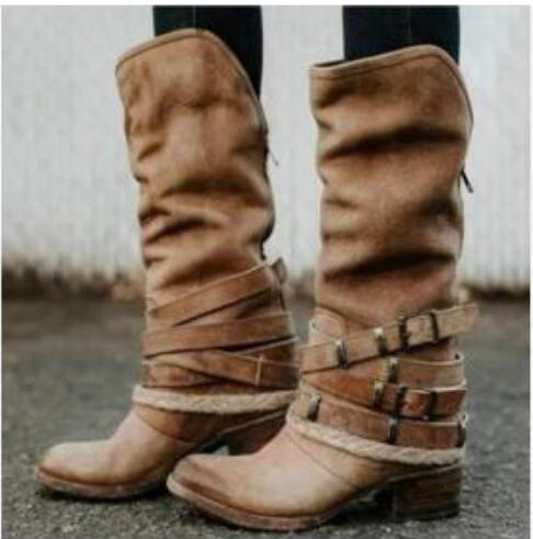 Women's Shoes - 2019 Vintage Knee High Buckle Strap Boots