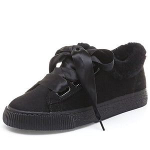 Women's Shoes - Fall Winter Bow-knot Suede Plush Sneakers