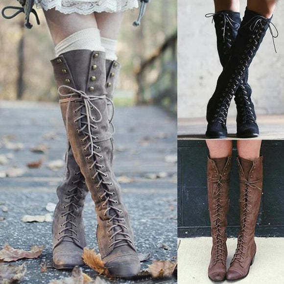 Shoes - Women's Cross tied Knee High Boots(Buy 2 Got 5% off, 3 Got 10% off Now)