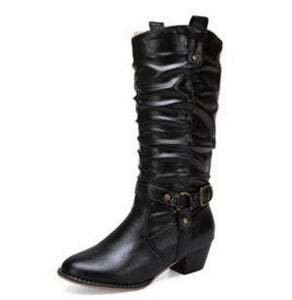 Shoes - Women Leather Gadiator Knee High Boots