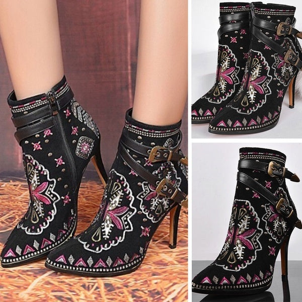 Shoes - 2018 Women's Vintage Embroidered Genuine Leather Heels Boots