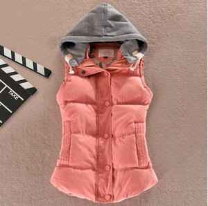 Clothing - Women's Warm Wool Collar Hooded Down Vest