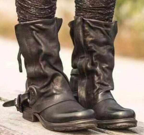 cd2f5e39dcd Women Vintage Buckle Leather Mid-calf Gladiator Boots
