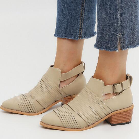 Women's Shoes - Vintage Leather Gladiator Ankle Boots