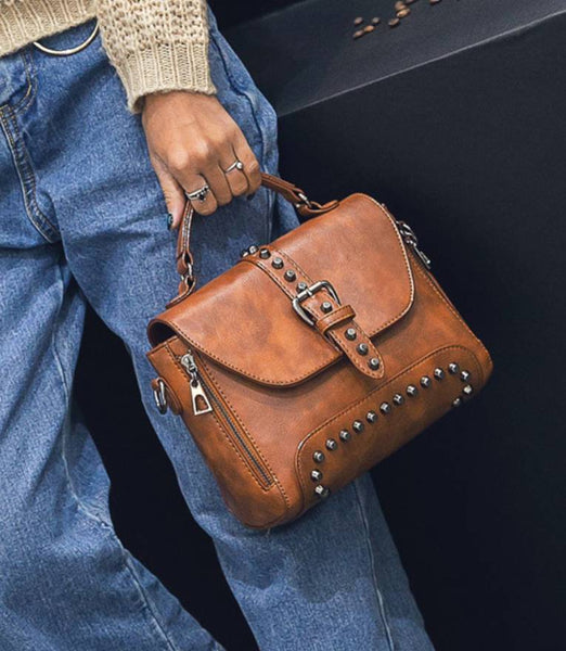 Bag - Vintage Leather Bags Rivet Handbags