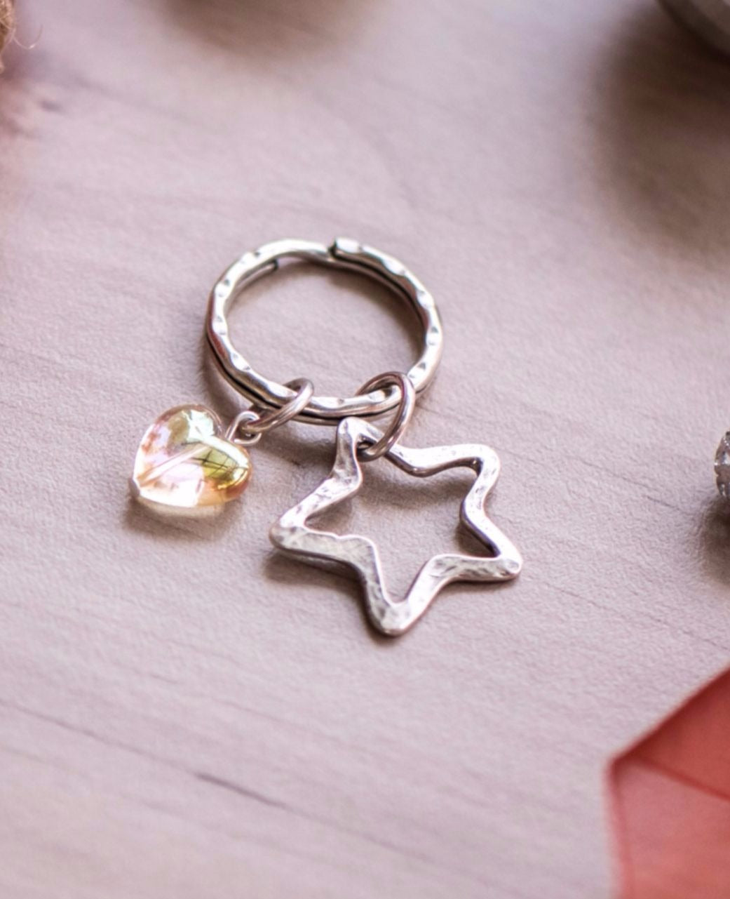 Star Heart Key Ring