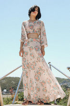 #0015 Bell Sleeves Top with Tie Cuffs & Maxi Dress Set in Chinese Style Print