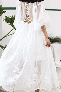 #0019 Balloon Sleeve Lace Dress in Embroidered Detail