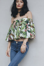 #0002 Floral Print Off Shoulder Crop Top with Butterfly Sleeves