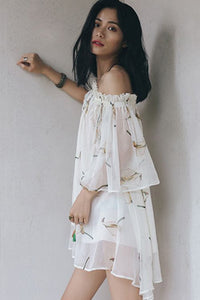 #0003 Off-the-shoulder Floral Print Mini Dress with Butterfly Sleeves
