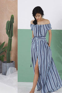 #0006 Button Through Off-the-shoulder Maxi Dress with Stripe Print