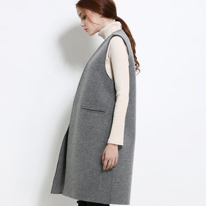 bIMC10078 V-neck Sleeveless Coat