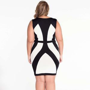 #D21548 Black and White Curvy Lines Thick Straps Bodycon Dress