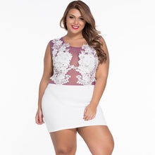 #D22474 Sizzling Floral Lace Bodice Mini Club Dress