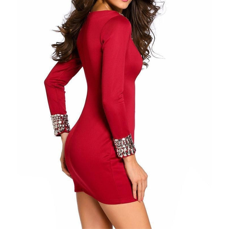 #D22592 Red Sexy Round Neck Long Sleeve Bodycon Studded Dress