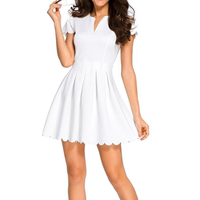 #D22636 White Sweet Scallop Pleated Skater Dress