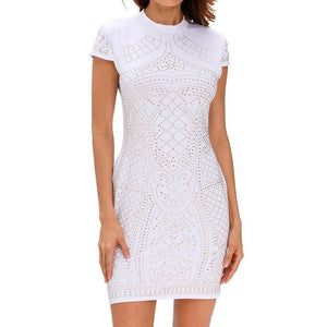 #D22694 White Gold Studded Short Sleeves Dress