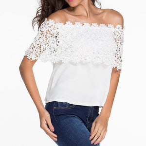 #D25685 White Lace Spliced Off Shoulder Chiffon Top