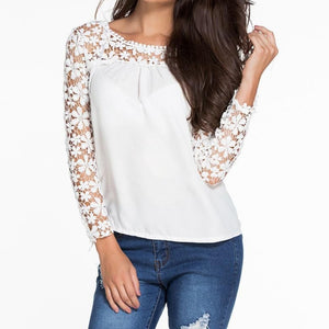 #D25686 White Floral Croche Lace Long Sleeve Chiffon Blouse
