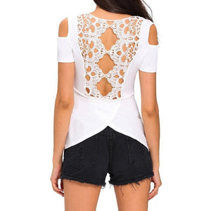 #D25825 White Crochet Back Cold Shoulder Top
