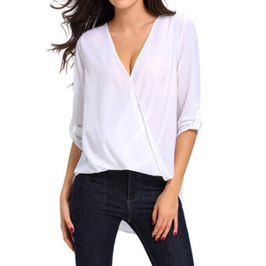 #D25826 White V Neck Ruffle Loose Fit Blouse Top