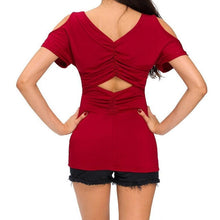 #D25861 Red Ruched Cutout Back Cold Shoulder Top