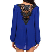 #D25864 Stylish Blue Crochet Back Wrap Front Blouse