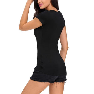 #D25865 Crochet Lace Applique Black T-shirt