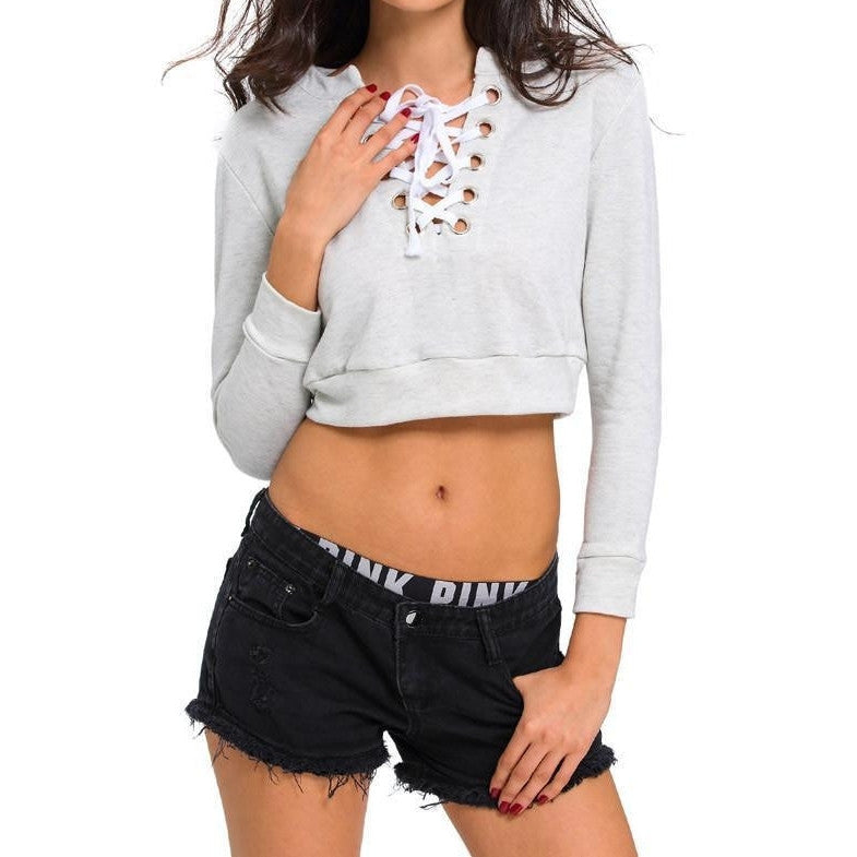 #D25873 Light Gray Criss Cross Cropped Sweater