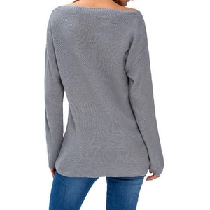 #D27621 Gray Knitted Long Sleeve Plunge Jumper