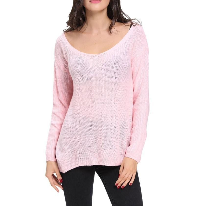#D27621 Pink Knitted Long Sleeve Plunge Jumper