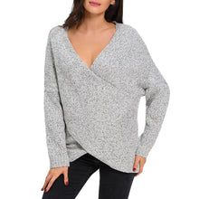 #D27623 Long Sleeve Chunky Cross Wrap V Neck Tunic Pullover Sweater