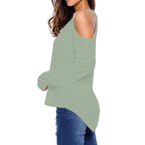 #D27625 Light Green Cold Shoulder Knit Long Sleeves Sweater