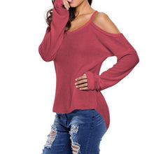 #D27625 Red Cold Shoulder Knit Long Sleeves Sweater