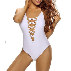 #D41072 White Sexy Plunge Crisscross Teddy Bikini with Scoop Back