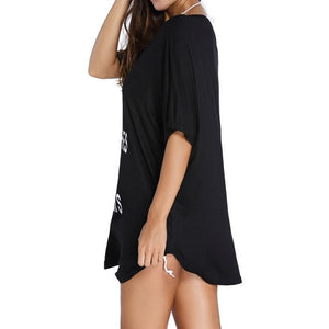 #D41178 Black Cheeky Letter Print Summer Cover up