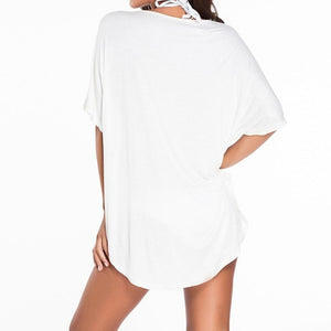 #D41178 White Cheeky Letter Print Summer Cover up