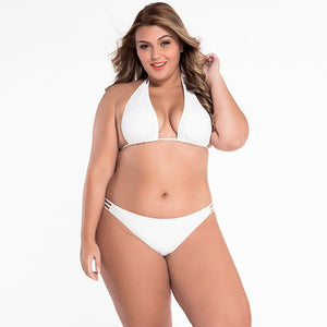 #D41223 Swim Sexy White Triangular String Bikini