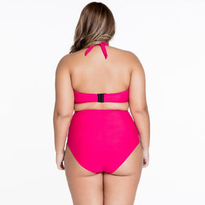 #D41228 Red Strappy Splice Plus High-waisted Swimwear