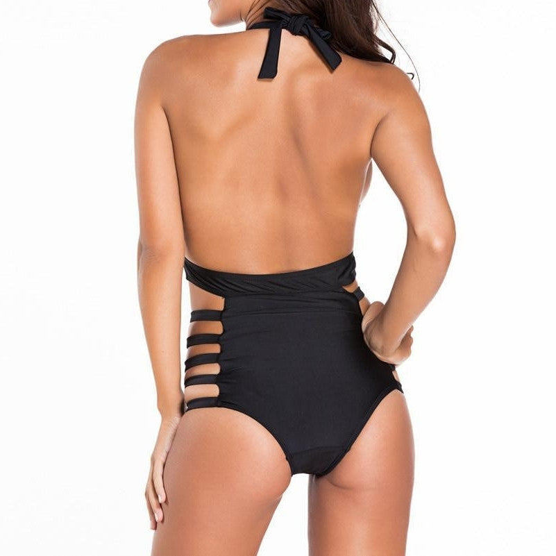 #D41243 Plunge Neck Strappy Sexy Backless Teddy Swimsuit