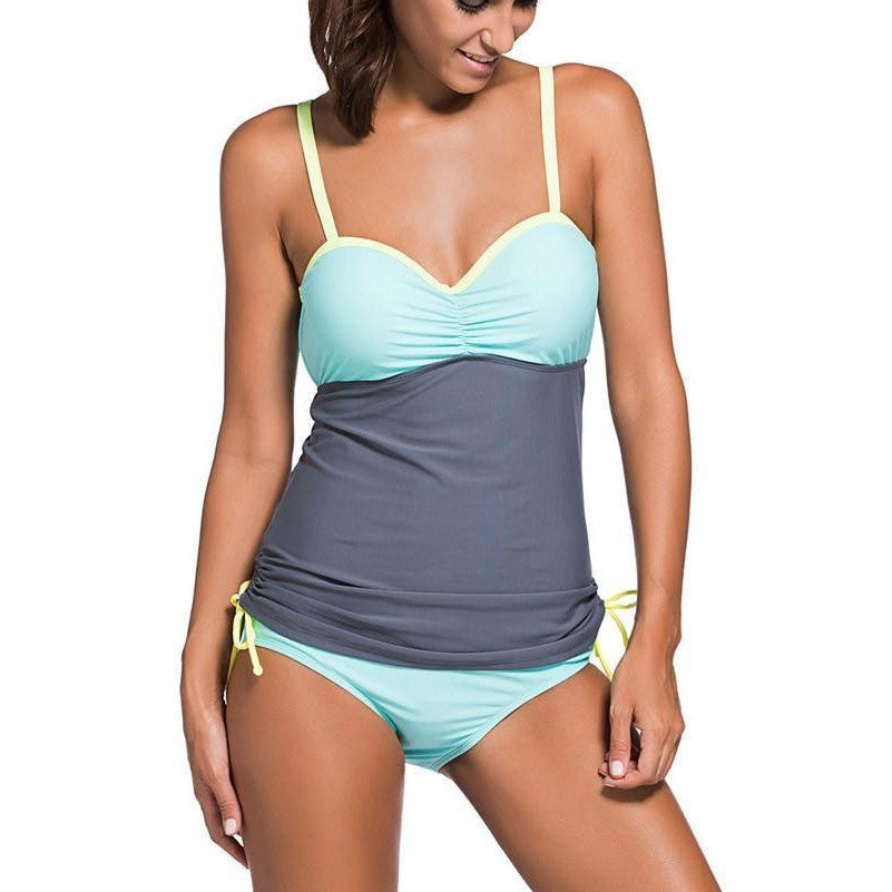 #D41965 Grey Light Blue Colorblock 2pcs Tankini Swimsuit