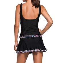 #D41974 Ruffle Trim Black Active Tank Top and Skort Swimsuit