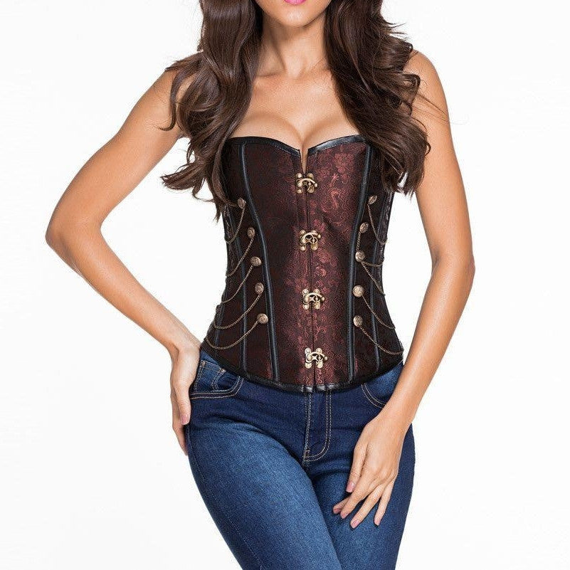 #D5333 Brown Steampunk Boned Corset with Chain Stud Detail