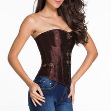 #D5349 Red Brocade Vintage Corset with Thong