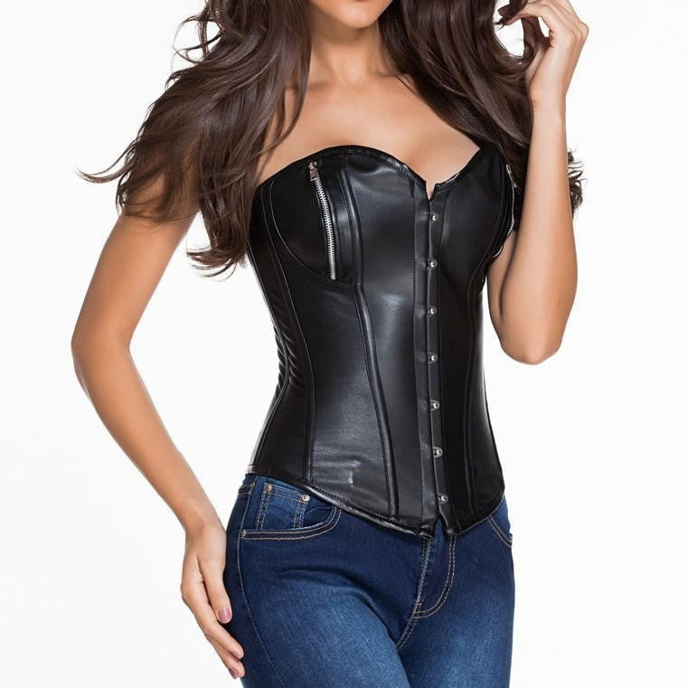 #D5400 Pure Leather 14 Steel Boned Zipper Basque Corset