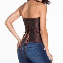 #D5402 14 Steel Bone Steampunk Leather Corset with Thong
