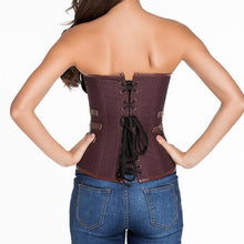 #D5416 Brown 12 Steel Bones Steampunk Corset with Thong
